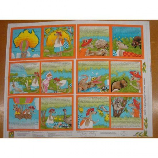 Hoppy the Kangaroo cloth book panel
