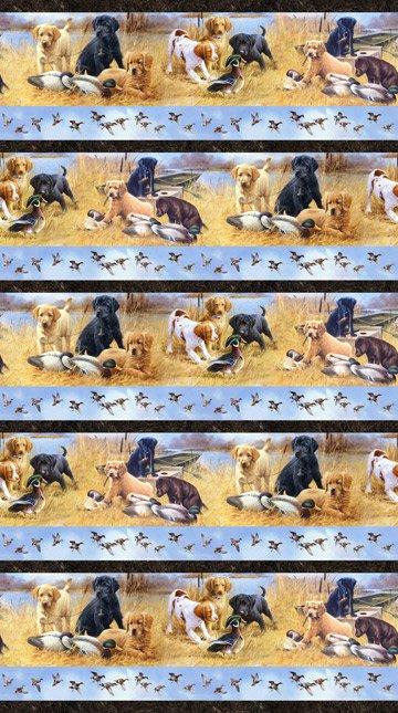 Faithful Friends dogs border print