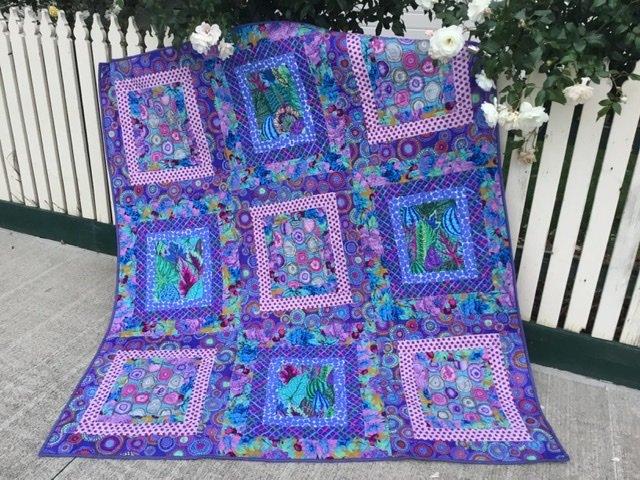 Kaffe Fasset purple ripples quilt