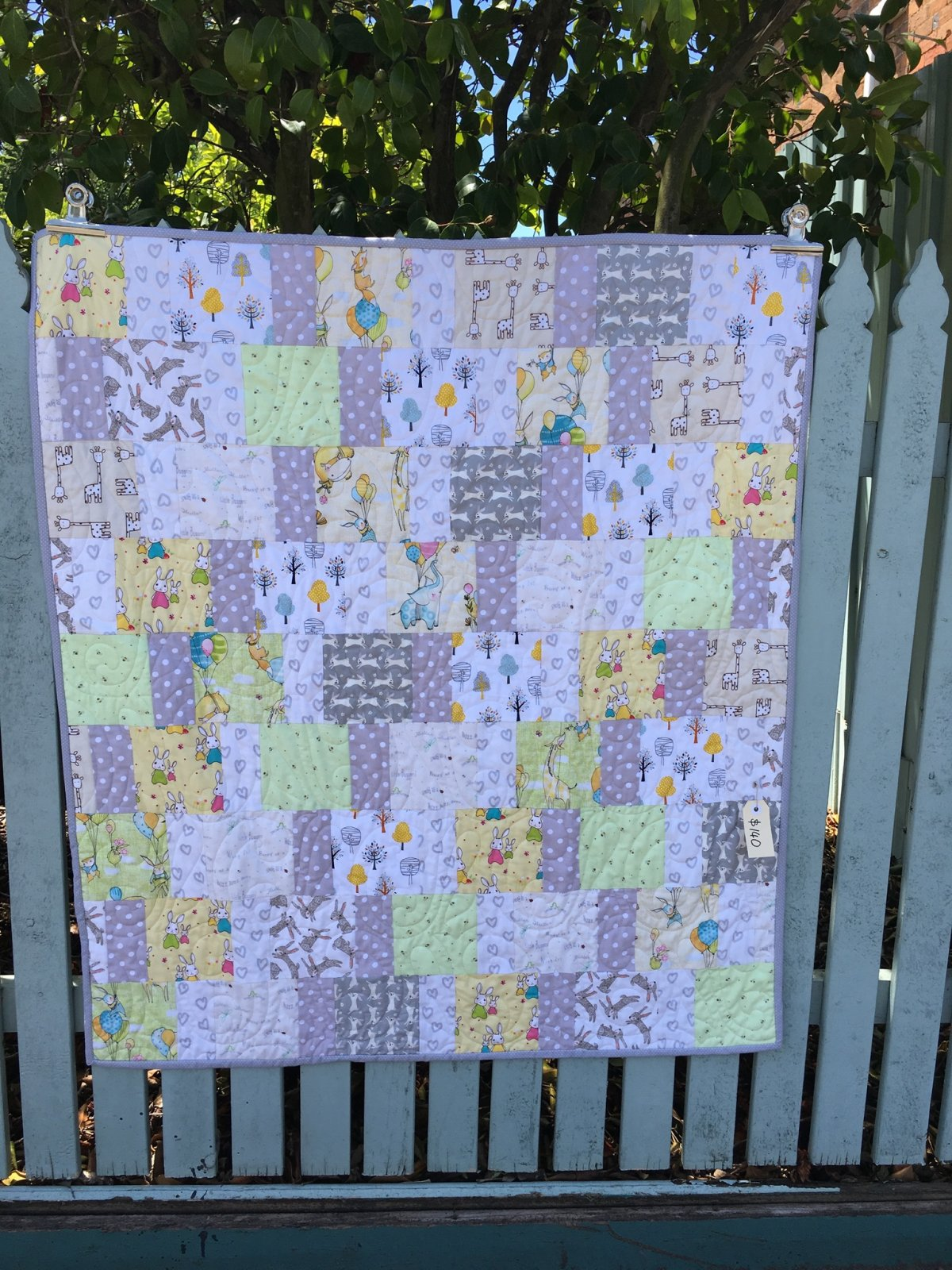 Lemon lime and grey baby cot quilt