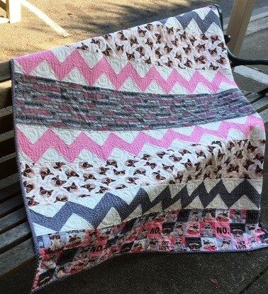 Grumpy Cat fabric kit pink/grey