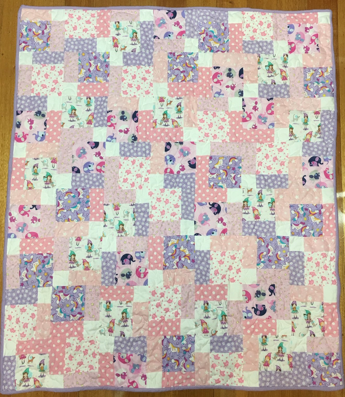 Nine Patch Fantasy quilt flannel PINK