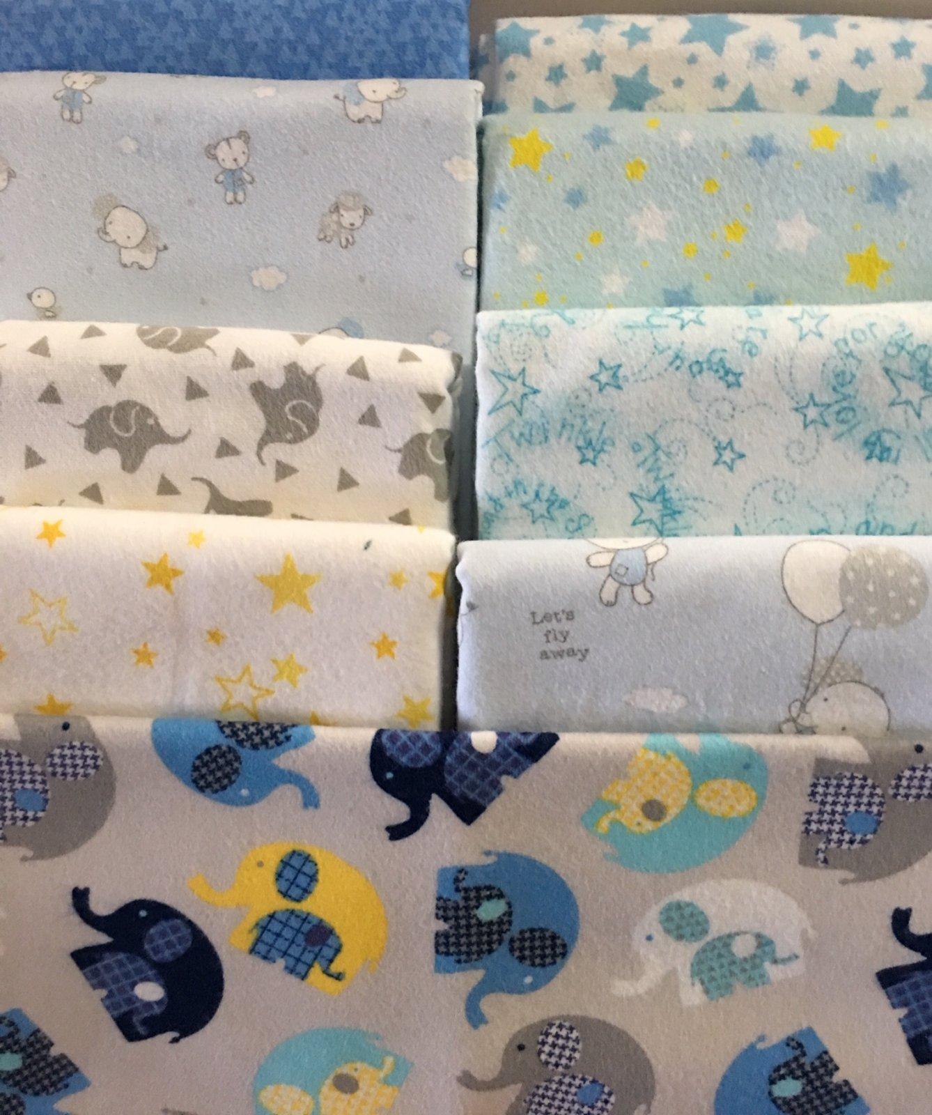 Nine Patch Fantasy quilt kit flannel BLUE