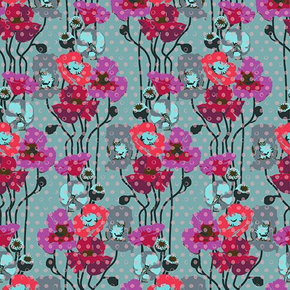 Floral Retrospective 050 Raindrop Poppies Plum
