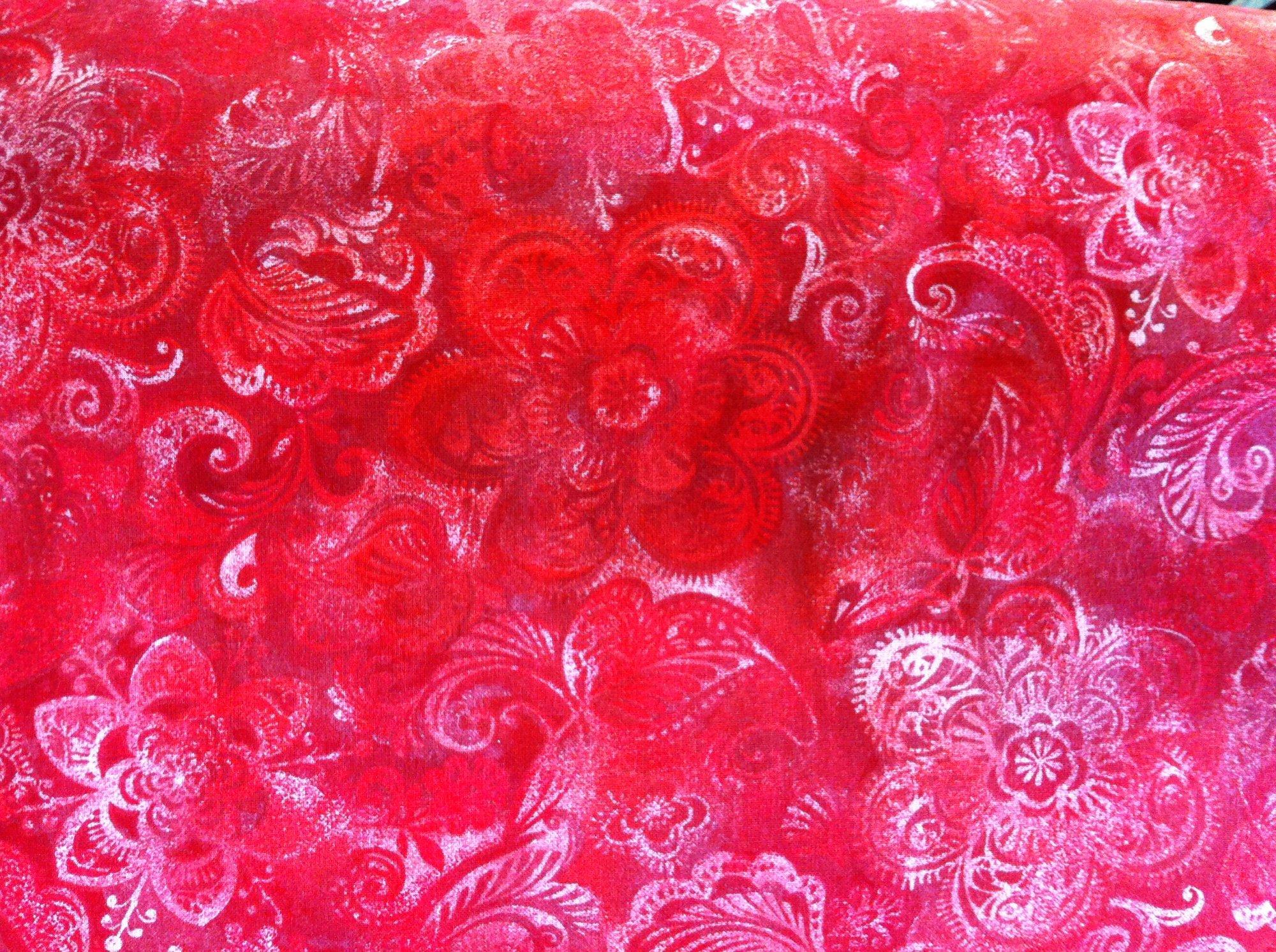 Red Floral Wide back