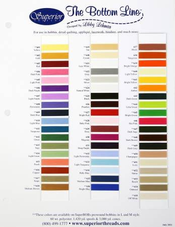 The Bottom Line Thread Color Card