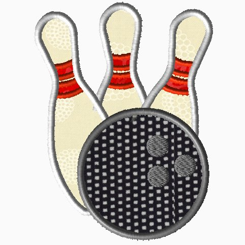 Bowling Pins & Ball Applique
