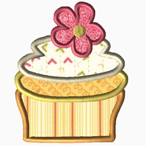 Cupcake with Flower Applique