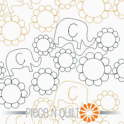 Elephant Dance Pantograph Pattern - Digital