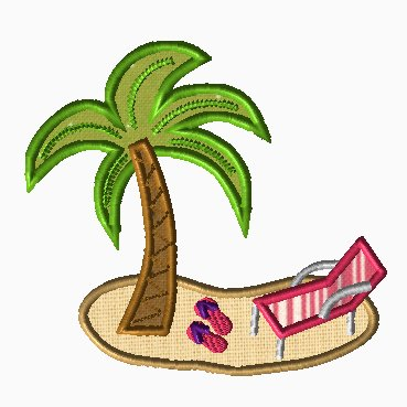 Palm Tree & Flip Flop Beach Applique
