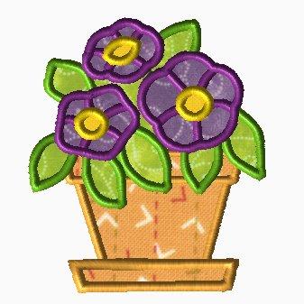Potted Violets Applique