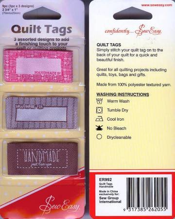 Quilt Tags - Set of 3 - Handmade