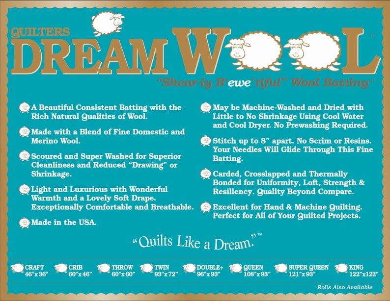 Quilters Dream Wool Batting - QUEEN