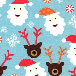 FF Print - Santa Reindeer and Candy Corn on Blue