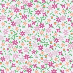 FF Print - Floral Fabric_Pink, Tangerine & Green
