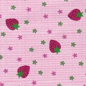 FF Print - Strawberries on Pink Micro Check