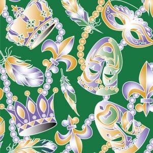 FF Print - Mardi Gras Beads & Masks Green