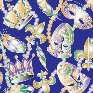 FF Print - Mardi Gras Beads & Masks Purple