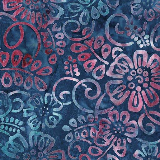 Bali Batiks - Flower Patch Blueberry