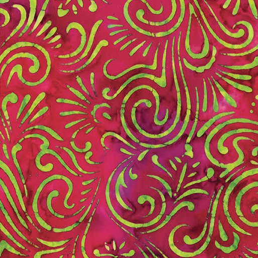 Bali Batiks - Wave Floral Magenta
