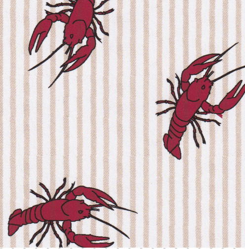 FF Seersucker - Crawfish Printed on Tan Stripe