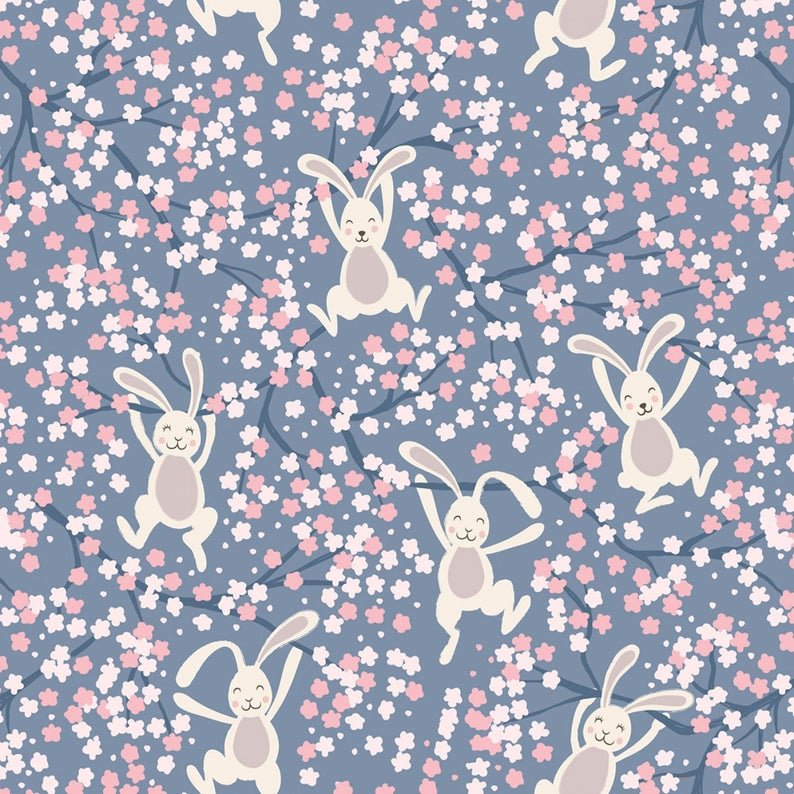 Bunny Hop - Swinging Bunnies on Denim Blue