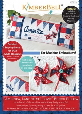 Kimberbell -  America Land That I Love Bench Pillow