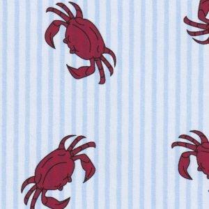 FF Print - Red Crabs on Blue Seersucker