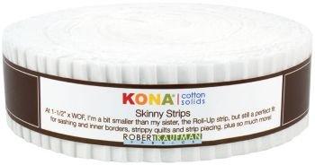 Kona Cotton White Skinny Strips - 1.5