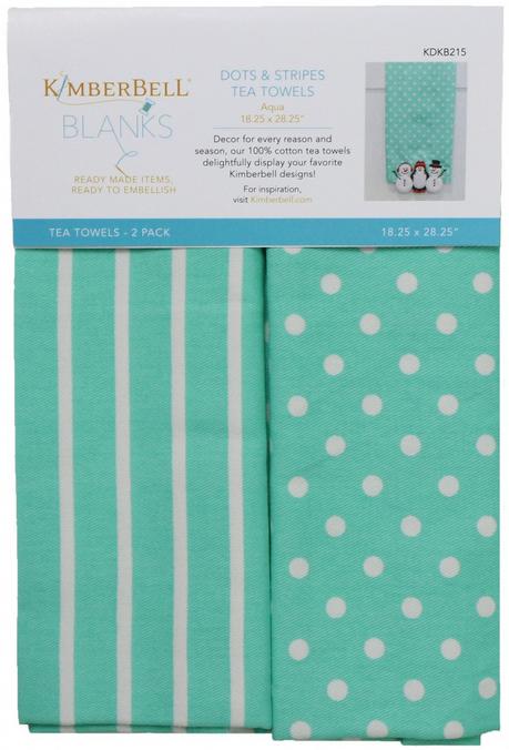 Kimberbell - Dots & Stripes Tea Towel Aqua xx