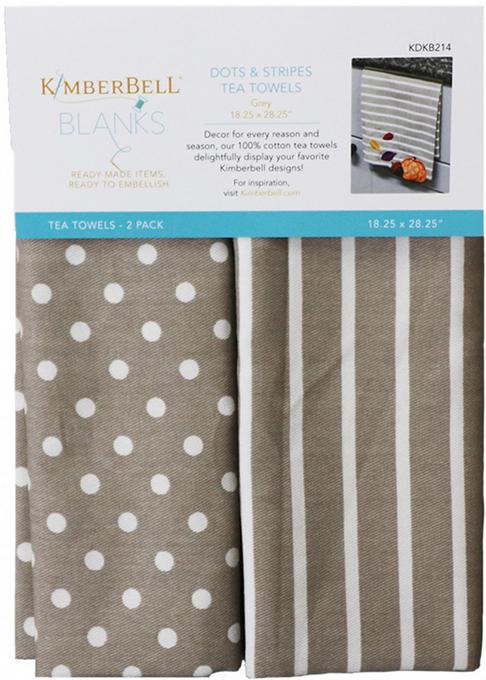 Kimberbell - Dots & Stripes Tea Towel Grey xx