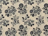 Large Floral Blue on Cream
