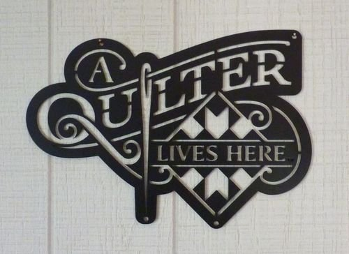 Quilter Lives Here 12x8 Black Sign