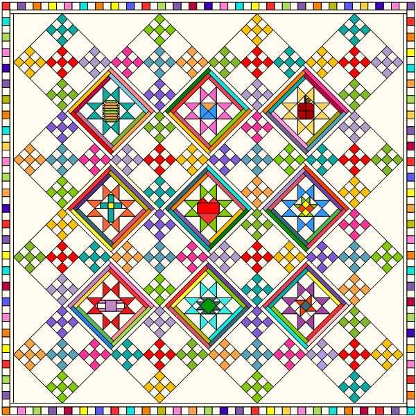 COVID Friends Bed Quilt (King & Queen) Setting Instructions Electronic PDF Pattern Download
