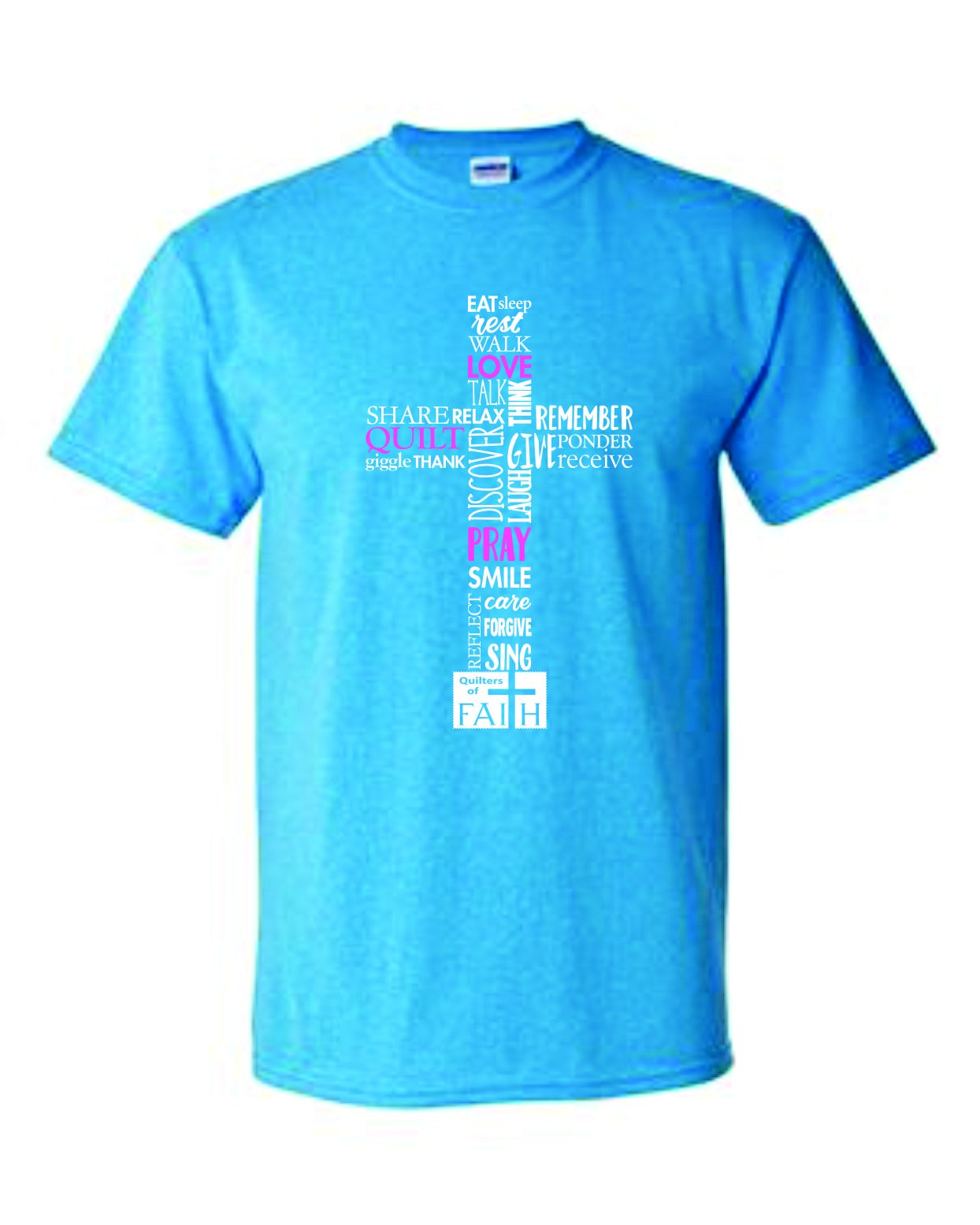 Love Quilt Pray Short Sleeve T-shirt Blue