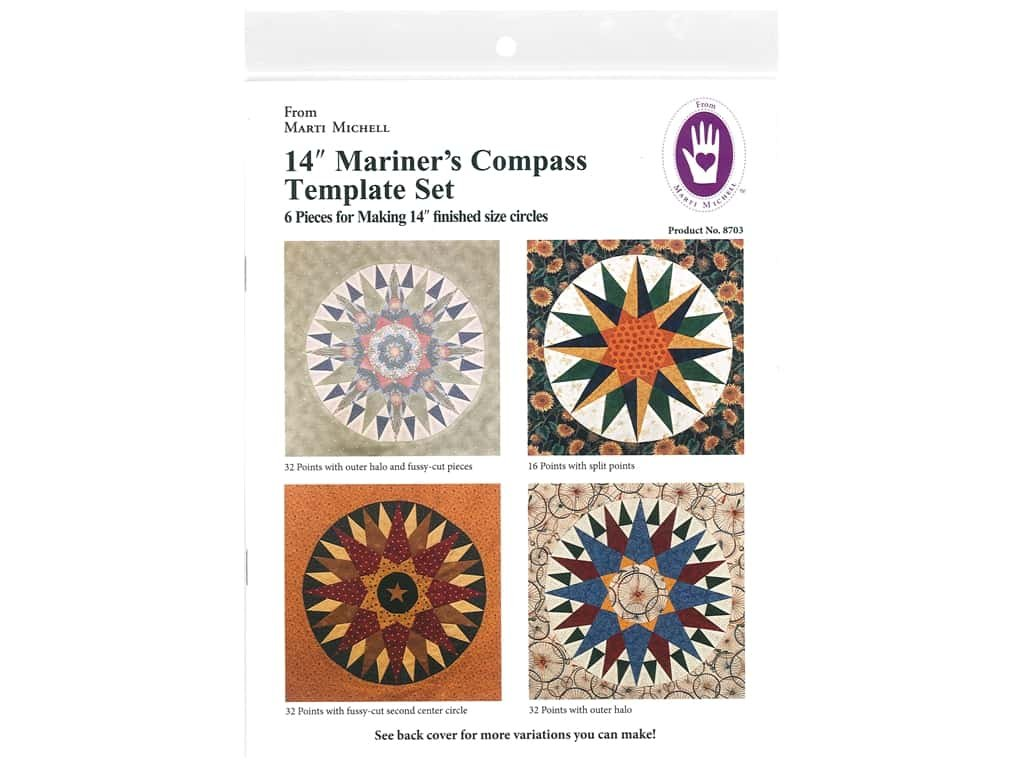 MICHELL MARKETING 8704  MARTI MICHELL TEMPLATE MARINER S COMPASS SET 20