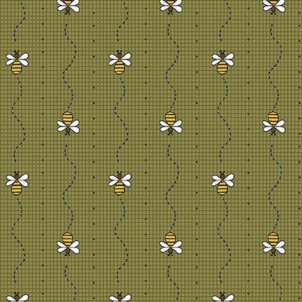 2423-66 Green Bee Mini Stripe