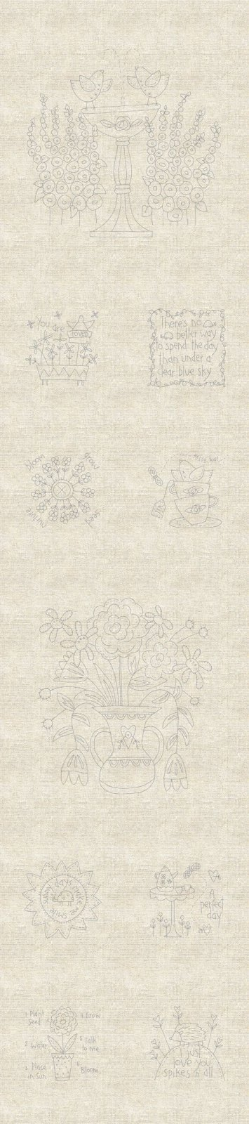 DV3973 Blume and Grow Stitchery Panel