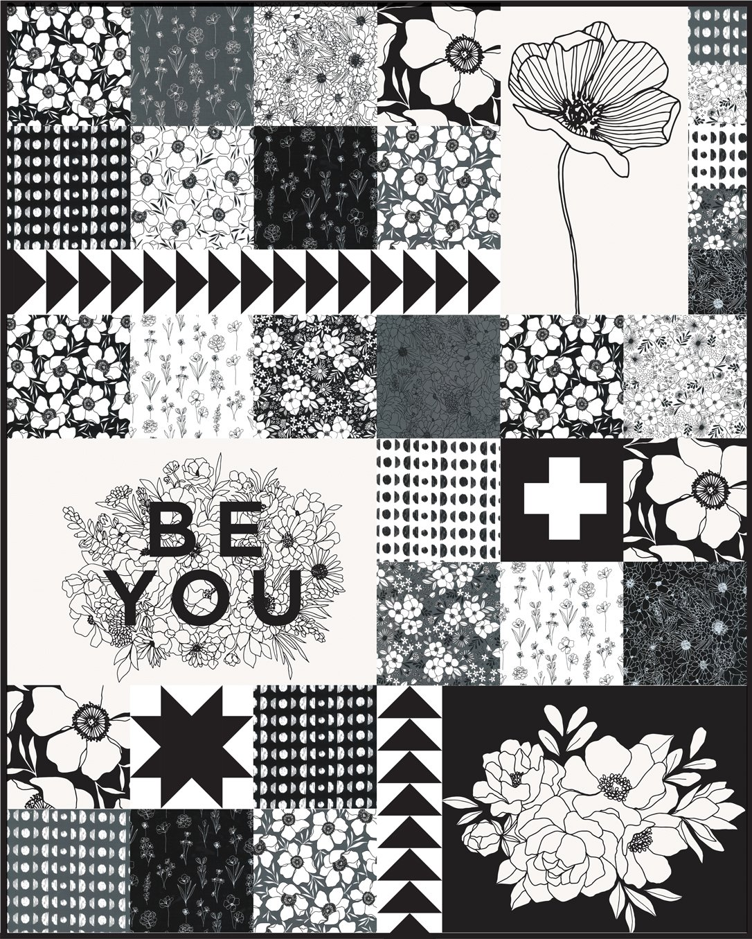 Illustrated Squares Quilt kit