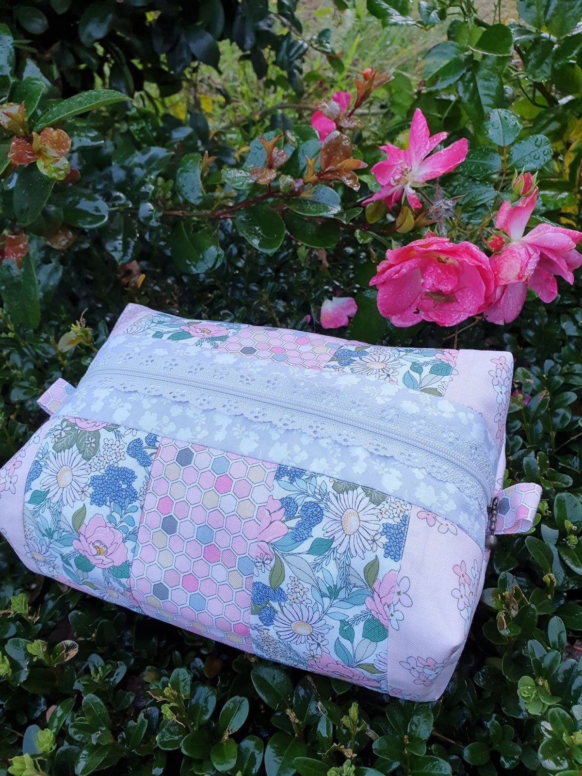 Floral Strips Large Pencil Case