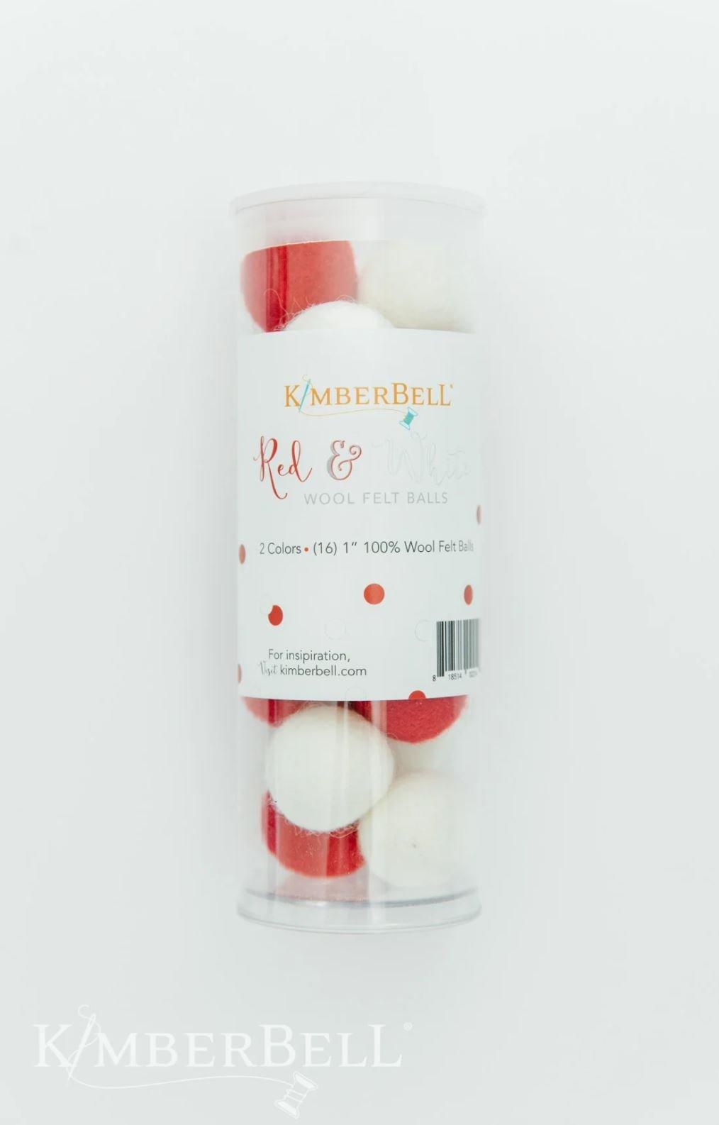 Wool Felt Balls Red & White