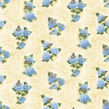 Hydrangea Blue - Yellow Hydrangea Fresco