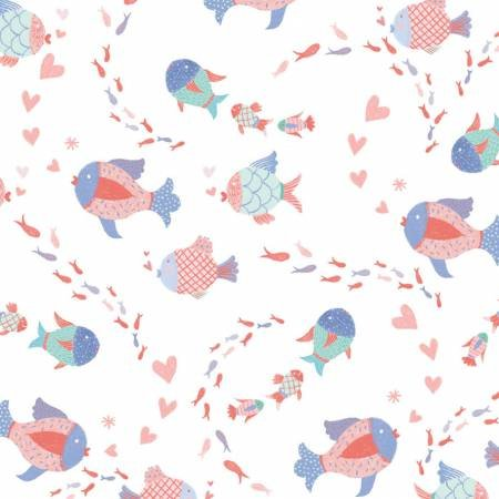 Mermaid Dreams Collection - Multi Fish on White