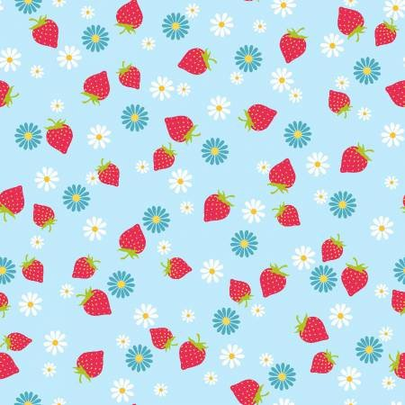 Cupcake Cafe - Strawberries on Light Blue