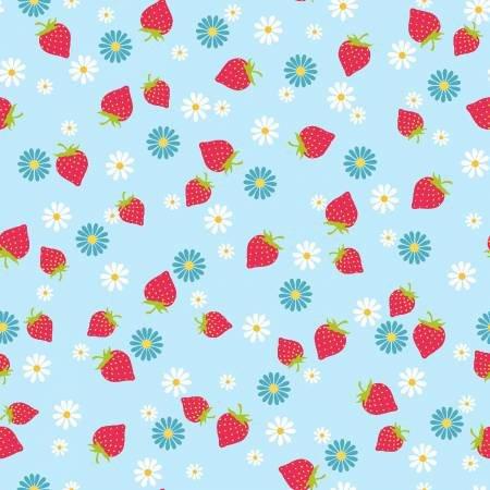 Cupcake Cafe - Strawberries on Light Blue