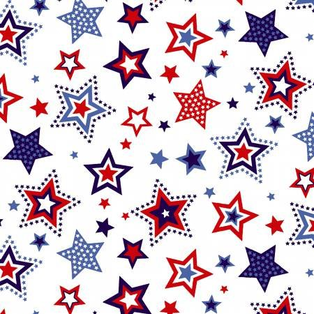 Red, White & Starry Blue - Large Stars on White