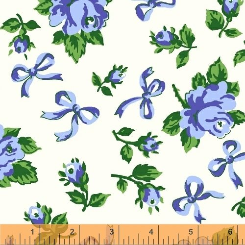 First Blush - Blue Roses on White - 50% Off!