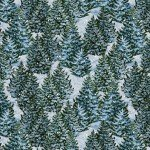 Winter's Eve Light Blue with Pine Trees