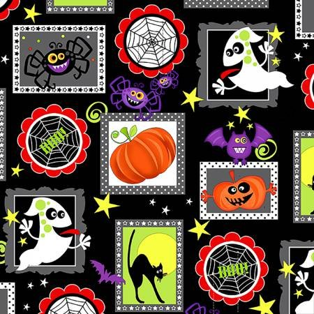 Frightful & Delightful - Halloween Squares on Black