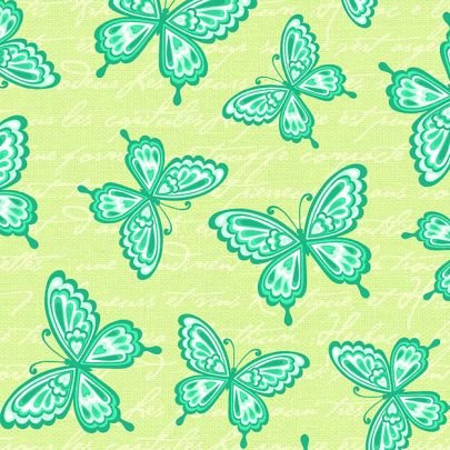 Butterfly Kisses Flannel - Green Butterflies